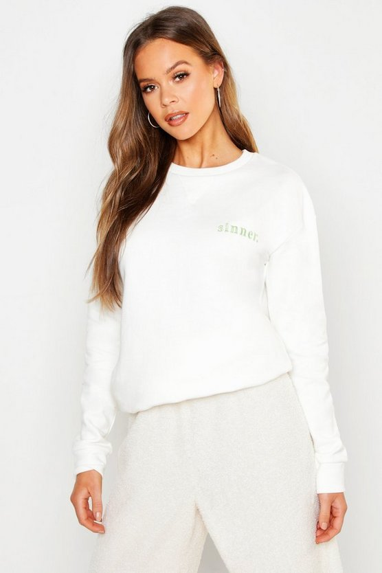Womens Ecru Sinner Embroidered Slogan Boyfriend Sweat