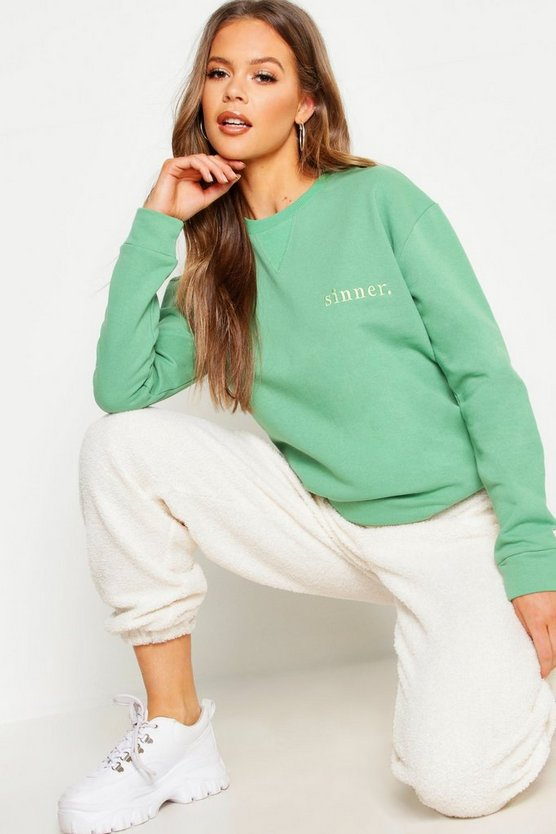 Sinner Embroidered Slogan Boyfriend Sweat
