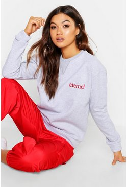 Womens Grey marl Eternal Embroidered Boyfriend Sweat