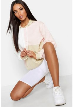 Womens Nude Oversized Colour Block Hoody