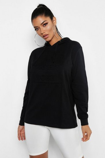 Womens Black Embossed Slogan Hoody