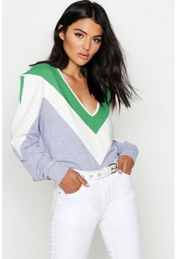 Womens Sage Tonal Colour Block Chevron Sweat