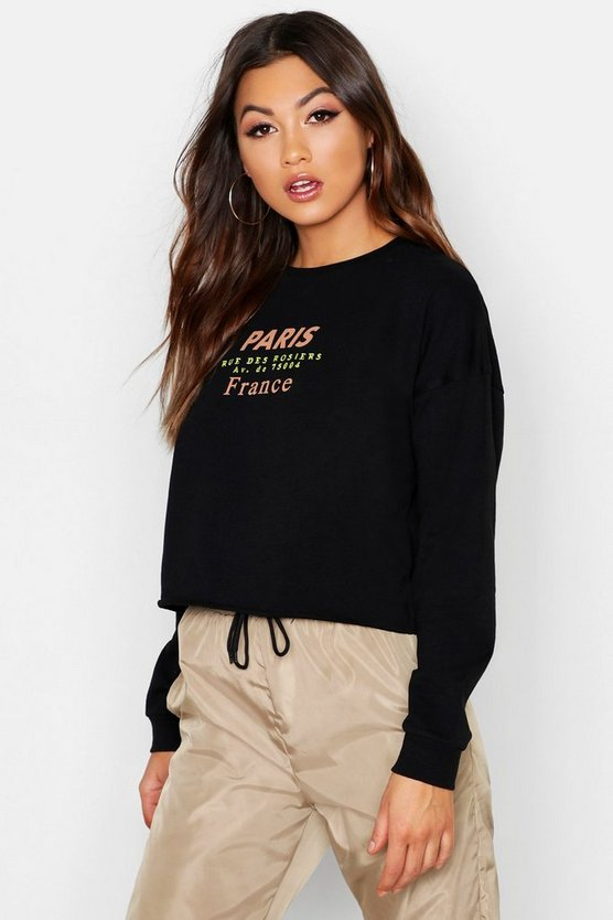Womens Black Paris Slogan Print Embroidered Sweat