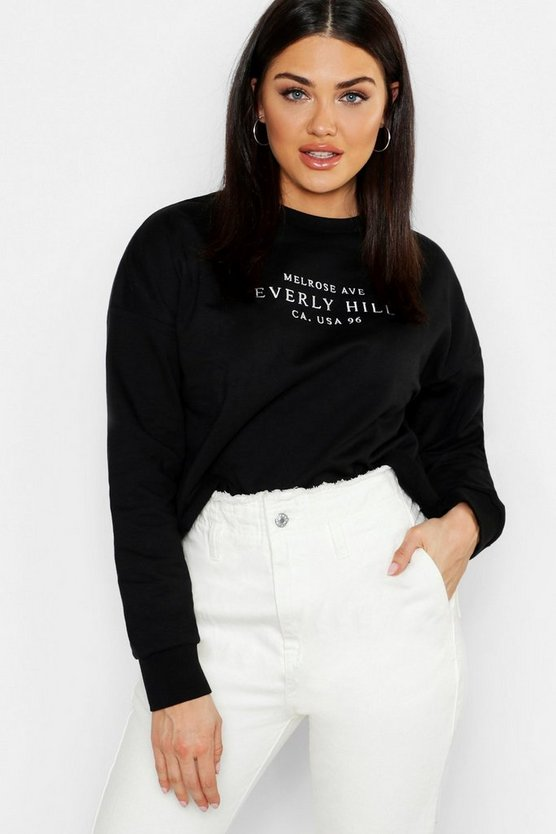 Womens Black Hollywood Slogan Embroidered Sweat