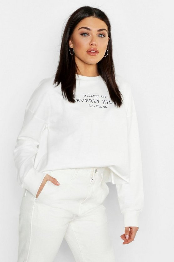 Womens Ecru Hollywood Slogan Embroidered Sweat