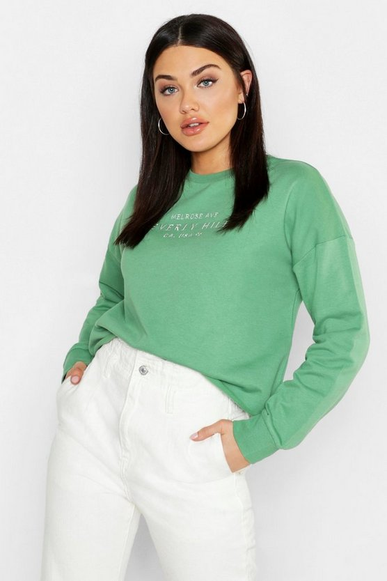 Womens Khaki Hollywood Slogan Embroidered Sweat