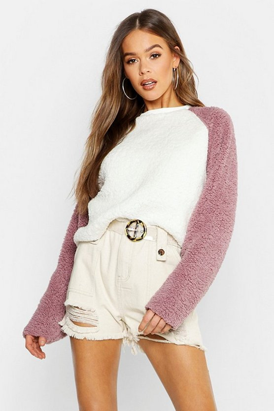 Raglan Teddy Fur Sweat
