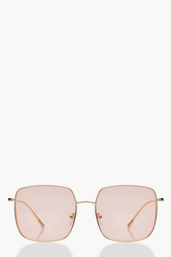 Womens Pink Oversized Coloured Lens Square Sunglasses