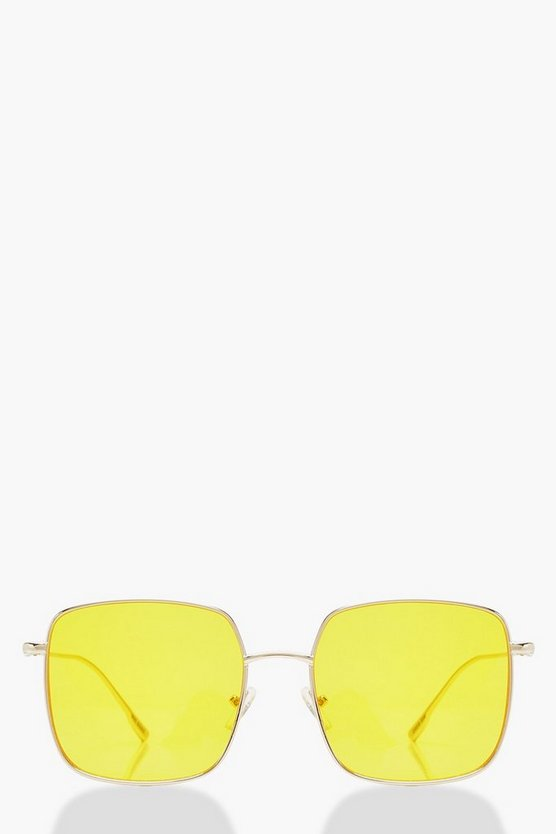 Womens Yellow Oversized Coloured Lens Round Sunglasses