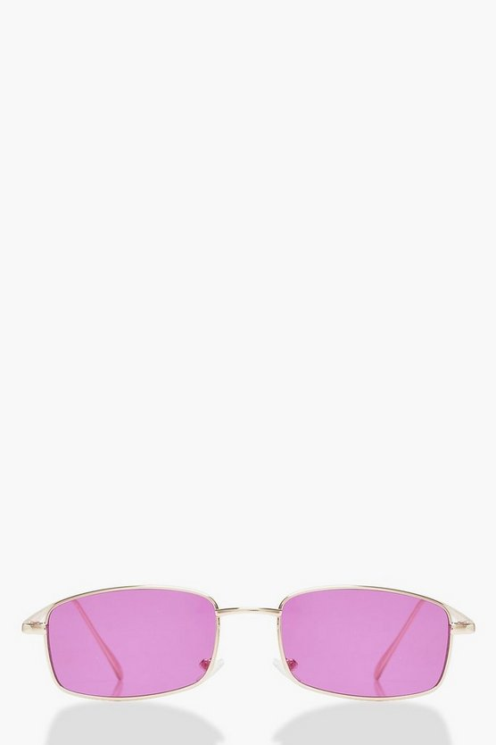 Womens Pink Pink Lens Rectangle Skinny Sunglasses