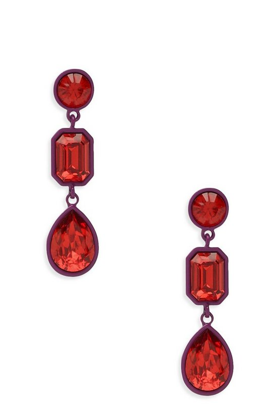 Womens Multi Pink & Red Contrast Gem Earrings