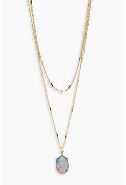 Collier superposé pierre incrustée, Multi, Femme