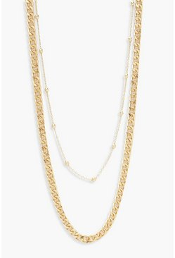 Womens Gold Simple & Chunky Chain Layered Necklace