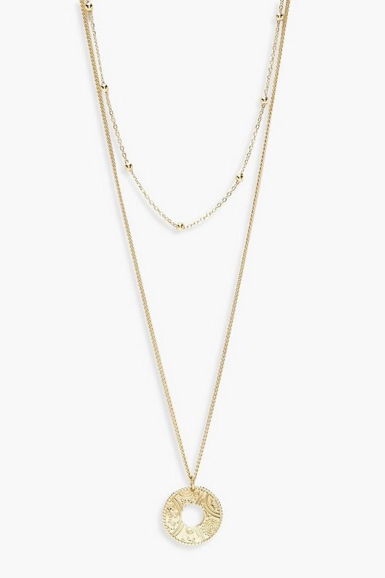Bead Chain Choker & Circle Layered Necklace