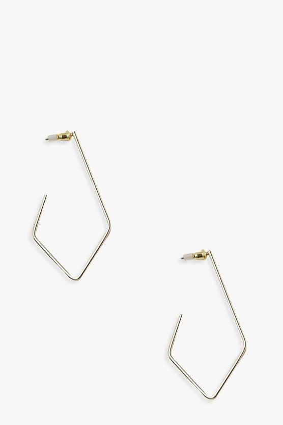 Womens Gold Long Diamond Hoop Earrings