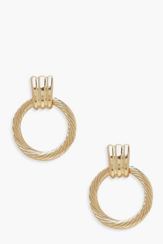 Twist Circle Door Knocker Earrings