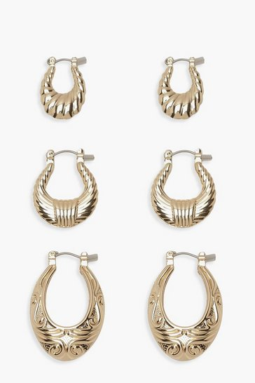Womens Gold 3 Pack Textured Oval Hoop Earrings
