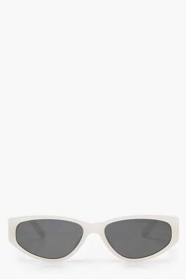 Womens White Slim Square Sunglasses