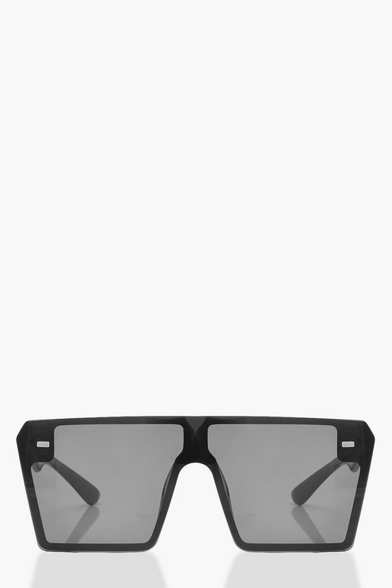 Womens Black Square Visor Sunglasses