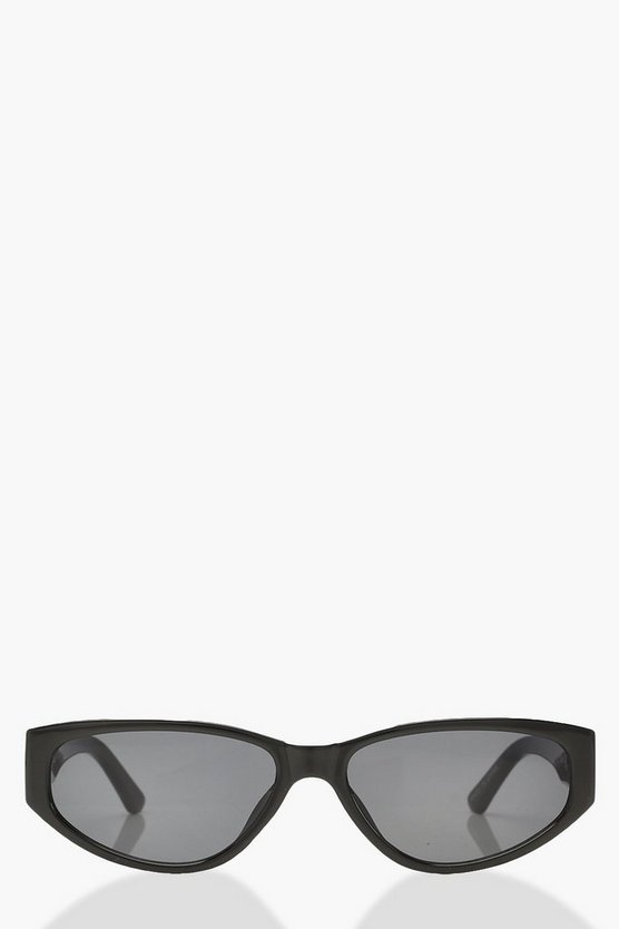 Womens Black Slim Square Sunglasses