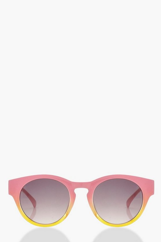 Womens Multi Pink Contrast Frame Round Sunglasses