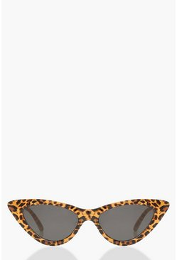 Brown Leopard Skinny Cat Eye Sunglasses