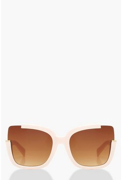 Womens Blush Oversized Frame Square Sunglasses
