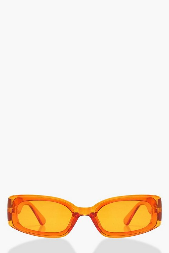 Womens Orange Slim Rectangular Clear Sunglasses