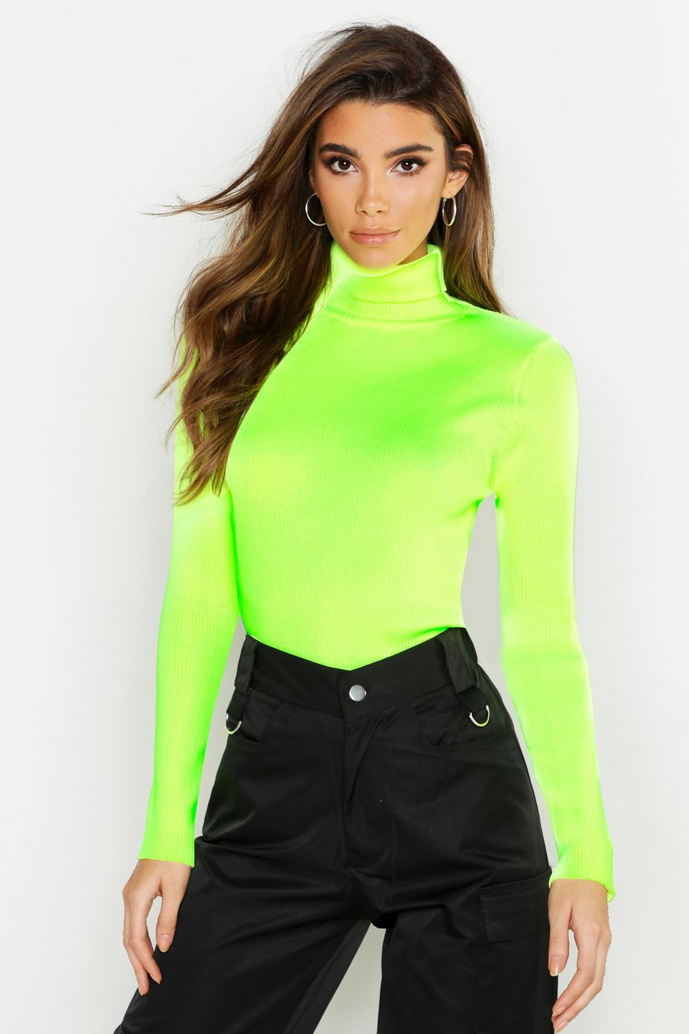 new high quality look for really comfortable Pull col roulé en maille côtelée fluo | Boohoo
