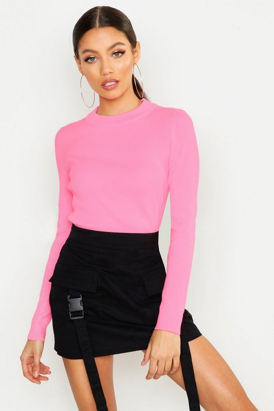 Rib Knit Neon Crew Neck Jumper