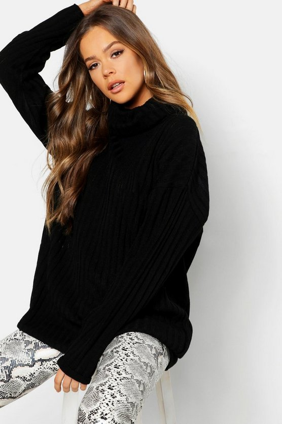 Womens Roll Neck Rib Knit Jumper