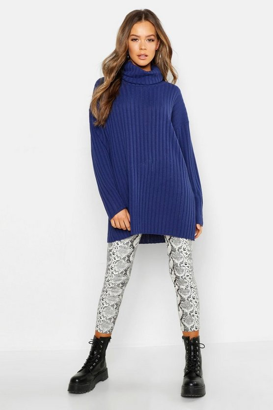 Womens Denim Roll Neck Rib Knit Jumper