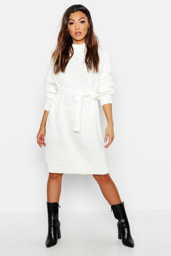 Womens Ivory Roll Neck Chunky Belted Midi Dress