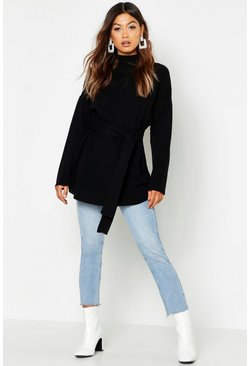 Black Belted High Neck Jumper