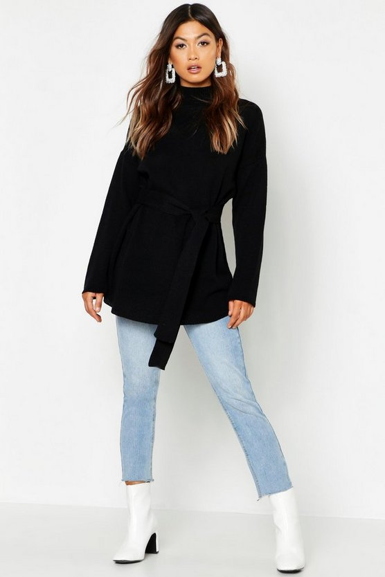 Womens Black Belted High Neck Sweater