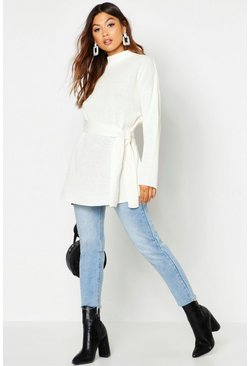 Ivory Belted High Neck Jumper