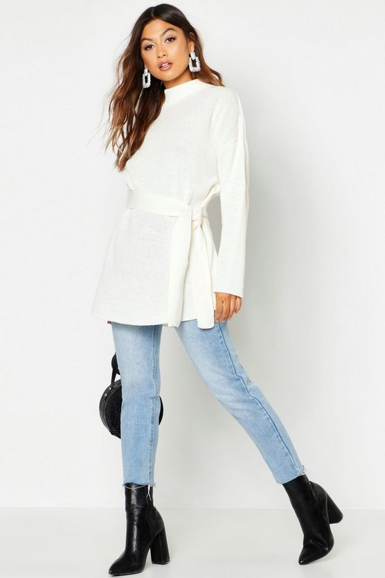 Belted High Neck Jumper