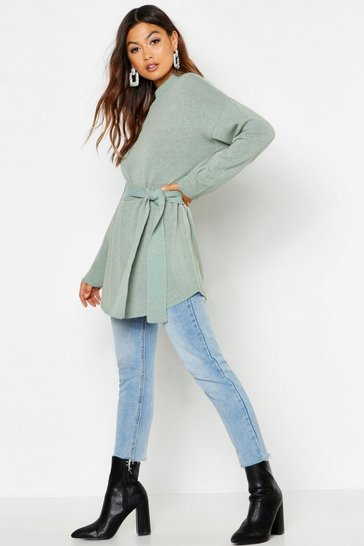 Womens Sage Belted High Neck Jumper