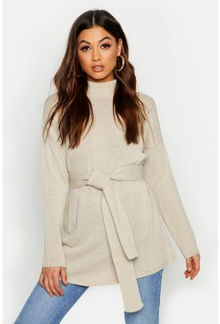 Stone Belted High Neck Sweater