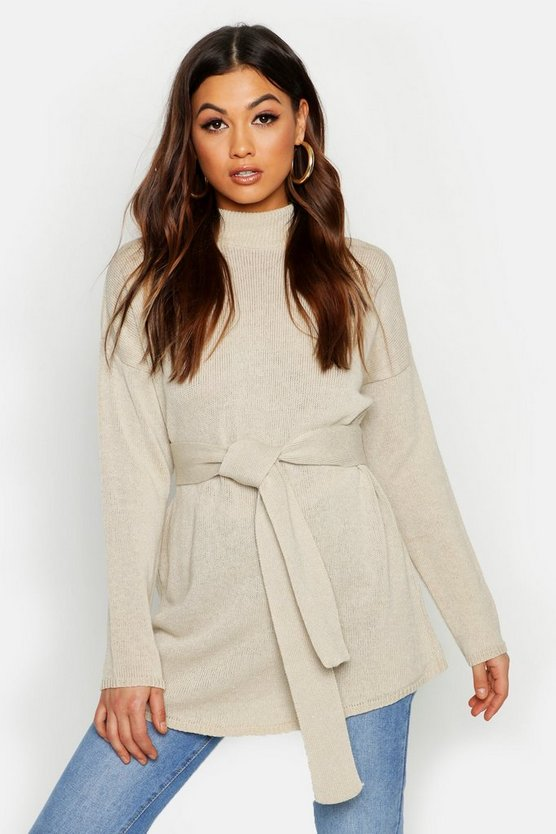 Belted High Neck Sweater