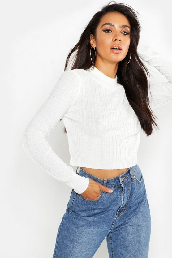 Womens Ivory Neon Rib High Neck Knitted Crop Sweater