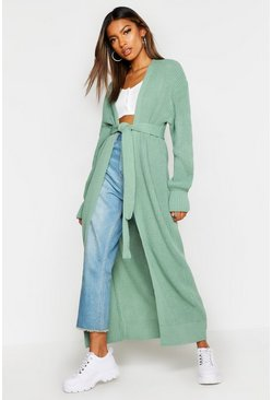 Womens Sage Maxi Belted Knitted Cardigan