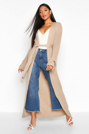 Womens Stone Maxi Belted Knitted Cardigan