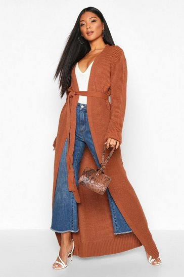 Womens Toffee Maxi Belted Knitted Cardigan