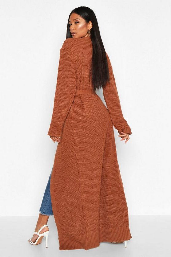 Maxi Belted Knitted Cardigan