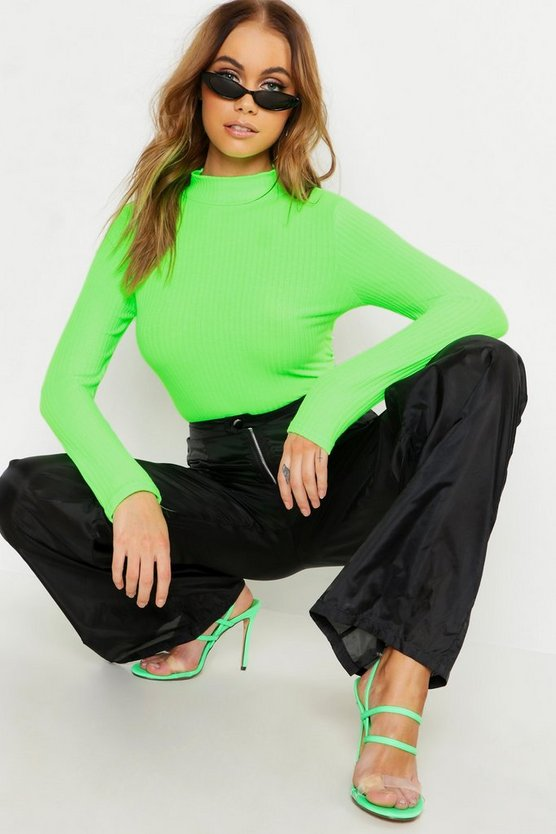 Womens Neon-green Turtle Neck Rib Knit Bodysuit