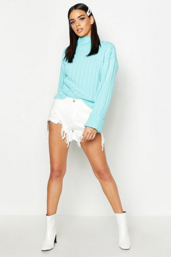 Womens Sky Rib Knit Turtle Neck Jumper