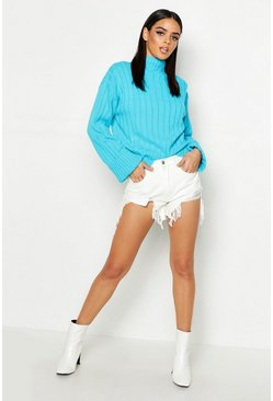 Womens Turquoise Rib Knit Turtle Neck Jumper