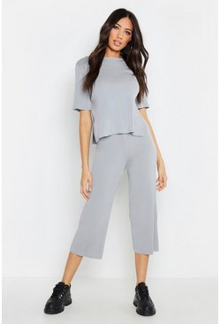 Womens Grey Premium Knitted Rib Set