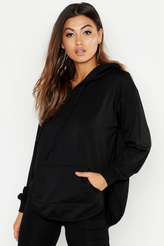 Womens Black Curved Hem Oversized Hoody